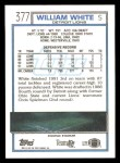 1992 Topps #377  William White  Back Thumbnail