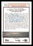 1992 Topps #542  Raleigh McKenzie  Back Thumbnail