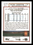 1992 Topps #577  Don Griffin  Back Thumbnail