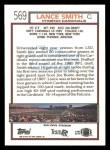 1992 Topps #569  Lance Smith  Back Thumbnail