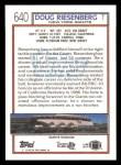 1992 Topps #640  Doug Riesenberg  Back Thumbnail