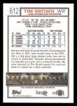 1992 Topps #612  Tim Brown  Back Thumbnail