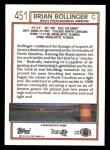 1992 Topps #451  Brian Bollinger  Back Thumbnail
