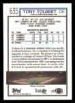 1992 Topps #635  Tony Tolbert  Back Thumbnail