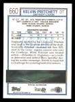 1992 Topps #660  Kelvin Pritchett  Back Thumbnail
