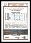 1992 Topps #504  Lorenzo Lynch  Back Thumbnail