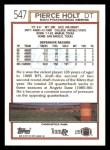 1992 Topps #547  Pierce Holt  Back Thumbnail
