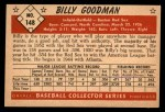 1953 Bowman #148  Billy Goodman  Back Thumbnail