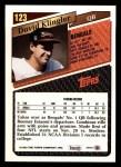 1993 Topps #123  David Klingler  Back Thumbnail
