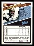 1993 Topps #115  Eric Martin  Back Thumbnail