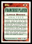 1993 Topps #82  Lomas Brown  Back Thumbnail