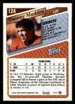 1993 Topps #124  Tommy Maddox  Back Thumbnail