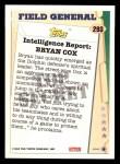 1993 Topps #293   -  Bryan Cox Field Generals Back Thumbnail
