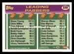 1993 Topps #220  Steve Young / Warren Moon  Back Thumbnail