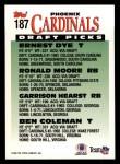 1993 Topps #187  Garrison Hearst / Ernest Dye / Moore / Coleman  Back Thumbnail