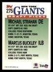 1993 Topps #275  Michael Strahan /  Marcus Buckley  Back Thumbnail
