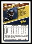1993 Topps #336  Anthony Miller  Back Thumbnail