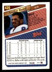 1993 Topps #420  Andre Reed  Back Thumbnail