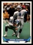 1993 Topps #320  Jason Hanson  Front Thumbnail