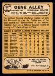 1968 Topps #53  Gene Alley  Back Thumbnail