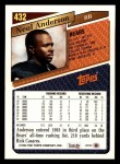 1993 Topps #432  Neal Anderson  Back Thumbnail