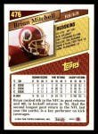 1993 Topps #476  Brian Mitchell  Back Thumbnail