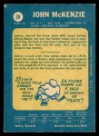 1969 O-Pee-Chee #28  John McKenzie  Back Thumbnail