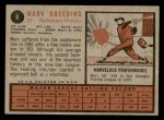 1962 Topps #6  Marv Breeding  Back Thumbnail