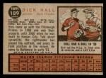 1962 Topps #189 A Dick Hall  Back Thumbnail