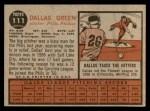 1962 Topps #111 NRM Dallas Green  Back Thumbnail