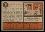 1962 Topps #183 NRM Roger Craig  Back Thumbnail