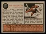 1962 Topps #271  Ray Rippelmeyer  Back Thumbnail