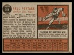 1962 Topps #349  Paul Foytack  Back Thumbnail