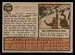 1962 Topps #146 GRN Don Demeter  Back Thumbnail
