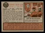 1962 Topps #171 GRN Dave Sisler  Back Thumbnail