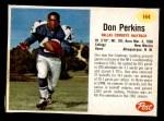 1962 Post #144  Don Perkins  Front Thumbnail