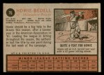 1962 Topps #76  Howie Bedell  Back Thumbnail