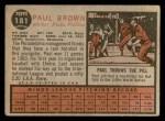 1962 Topps #181 NRM Paul Brown  Back Thumbnail