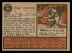 1962 Topps #350  Frank Robinson  Back Thumbnail