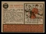 1962 Topps #380  Lew Burdette  Back Thumbnail