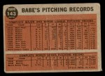 1962 Topps #143 NRM  -  Babe Ruth Greatest Sports Hero Back Thumbnail