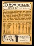 1968 Topps #68  Ron Willis  Back Thumbnail
