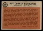 1962 Topps #163 A  -  Billy Gardner / Clete Boyer Hot Corner Guardians Back Thumbnail