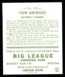 1933 Goudey Reprint #199  Tommy Bridges  Back Thumbnail