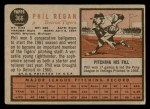 1962 Topps #366  Phil Regan  Back Thumbnail