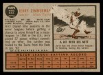 1962 Topps #222  Jerry Zimmerman  Back Thumbnail