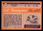 1970 Topps #231  Bill Thompson  Back Thumbnail