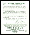 1934 Goudey Reprint #62  Hank Greenberg  Back Thumbnail