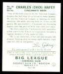 1934 Goudey Reprint #34  Chick Hafey  Back Thumbnail