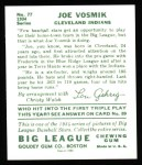 1934 Goudey Reprint #77  Joe Vosmik  Back Thumbnail
